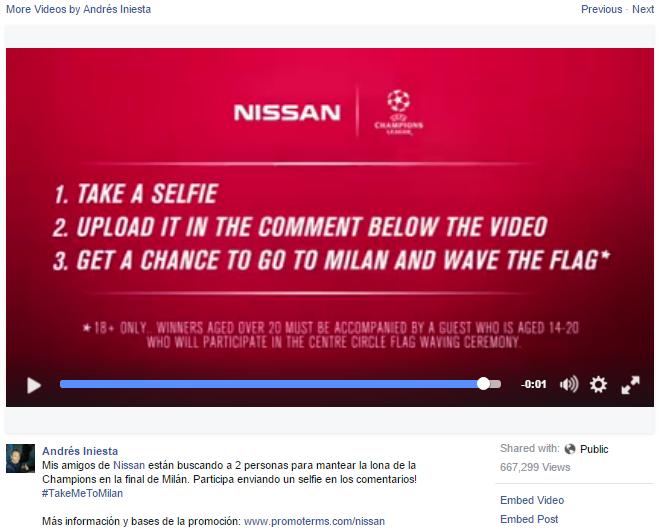 Iniesta facebook Nissan
